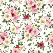 Vector seamless pattern with red pink and white roses lisianthus flowers berries and green leaves on white