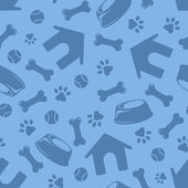 Seamless blue pattern with dogs symbols Vector illustration