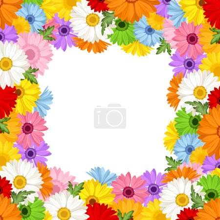 Vector frame with colorful gerbera flowers.
