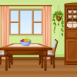 Vector dining room interior with table, chairs, cu...