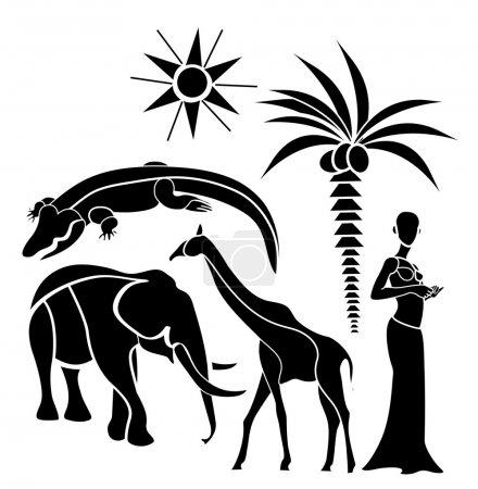 Photo pour Éléments traditionnels de l'Afrique sur fond blanc - image libre de droit