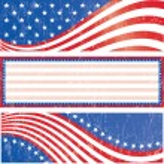 American flag banners set grunge style. Grunge eff...