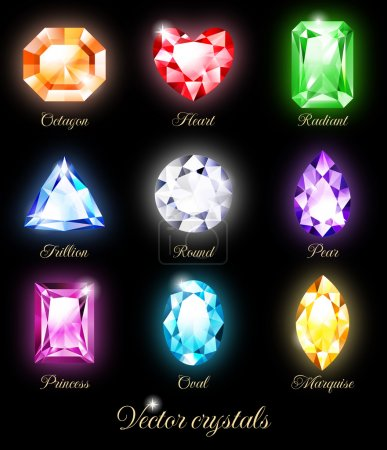 Photo for Collection of sparkling gems isolated on black background. Vector illustration EPS 10. RGB. Contains transparency and blending modes. - Royalty Free Image
