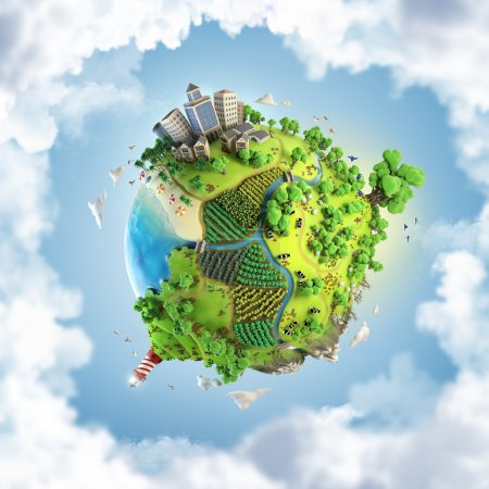 Photo for Globe concept showing a green, peaceful and idyllic life style in the world in a cartoony style - Royalty Free Image