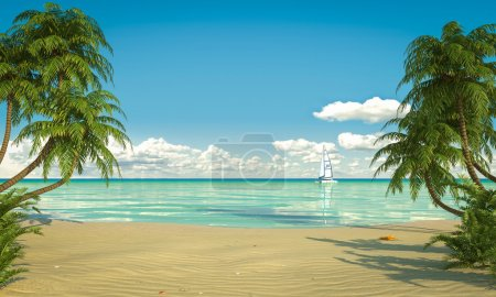 Photo pour Vue frontale d'une plage caribéenne avec bateau - image libre de droit