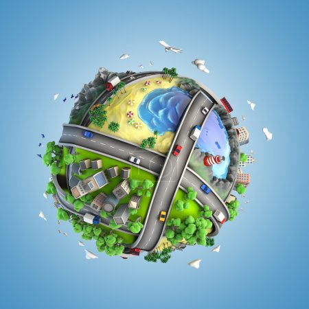 Photo for Concept globe showing diversity, transport and green energy in a cartoony style - Royalty Free Image