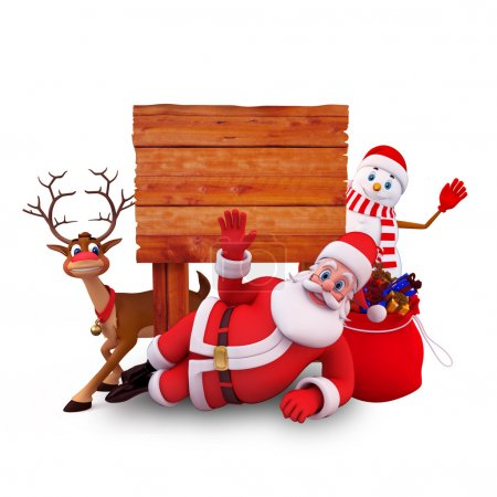 Photo for 3d art illustration of santa claus with wooden sign - Royalty Free Image