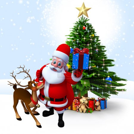 Santa claus with lots of gifts