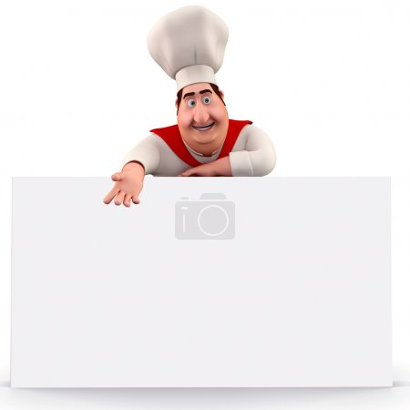 Chef with sign