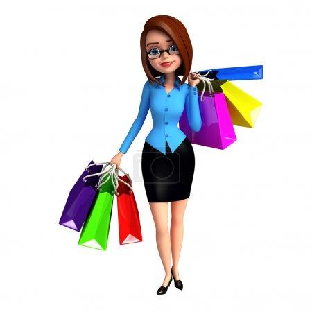 Photo pour Jeune fille avec des sacs à provisions - image libre de droit
