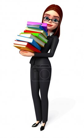 Business woman with book stack