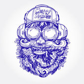 A portrait of Santa Claus is in decorative calligraphic style Vector print Santa Claus in a cap in headsets with a Christmas lollipop in to the mouth
