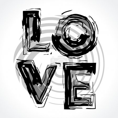 Illustration for Word love is drawn by a brush, in style pop-art. Letters of L, O, V, E. In black and white. Greyscale. - Royalty Free Image