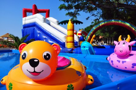 Inflatable toys in children sweeming pool and inflatable castle