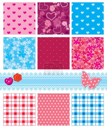 Fabric textures in pink and blue colors - seamless patterns