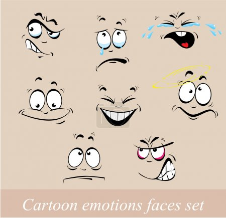 Illustration for Cartoon emotions faces set - Royalty Free Image