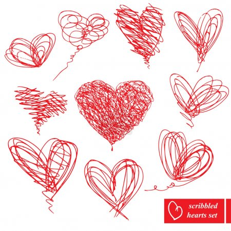 Set of 10 scribbled hand-drawn sketch hearts for Valentines Day