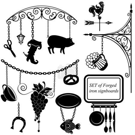 Illustration pour Ensemble de panneaux en métal de différentes formes pour restaurant, bar, café ou magasin . - image libre de droit