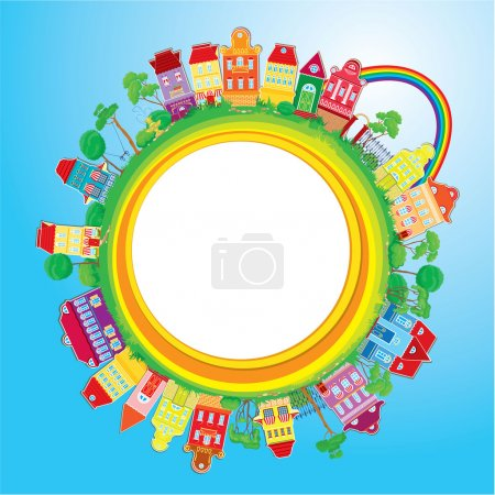 Abstract round banner with small fairy colorful town on light bl