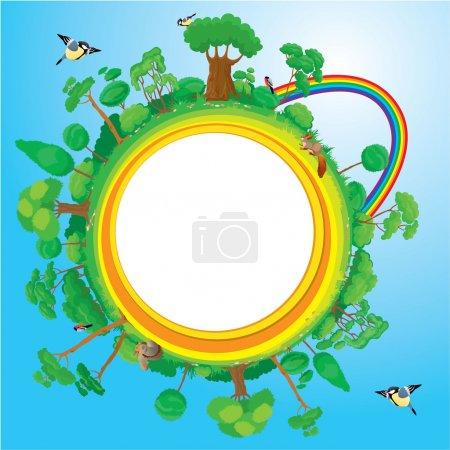 Globe with green trees, birds, animals, rainbow - eco concept
