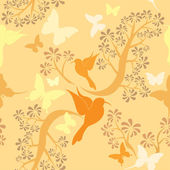 Light vanilla colors seamless pattern with hummingbirds butterf