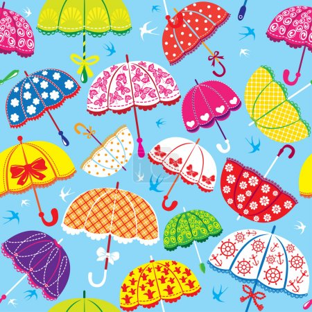 seamless pattern with colorful umbrellas on blue background