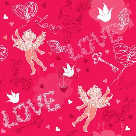 Illustration pour Modèle sans couture Saint-Valentin avec Cupidon, coeurs dessinés à la main, clés et oiseaux sur fond rouge . - image libre de droit