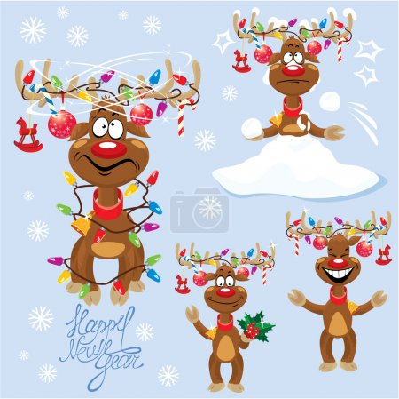 Set of four funny rein deers with christmas lights tangled in an