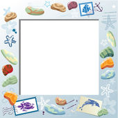 Blank Photo Frame with Colorful Sea Stones Starfishes Mail Sta
