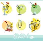 Sada obrázků nápoje alkohol v grunge styl. kaligrafie ZŠ