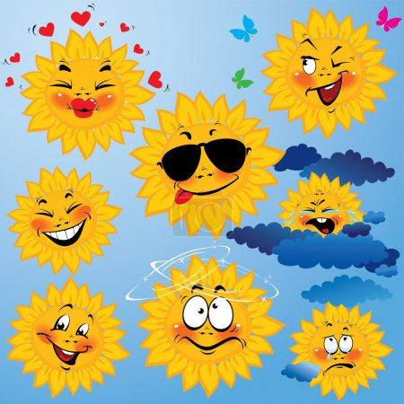 Illustration for Set of cute cartoons of sun with different expressions and emotions. Design for travel and summer holiday. - Royalty Free Image