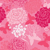 Seamless pattern with butterflies silhouettes and hand drawn flo