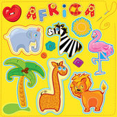 Set of buttons cartoon animals and word AFRICA - hand made cutout images and letters - picture for chilfren