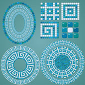 Set of Mosaic patterns - Blue ceramic oval and round frames - cl