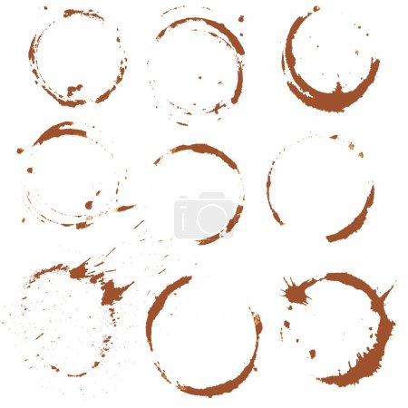 Illustration for Set of  Coffee Stain, Isolated On White Background. Each one is shot separately. - Royalty Free Image
