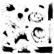 Set of black blots and ink splashes. Abstract elem...