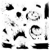 Set of black blots and ink splashes Abstract elements for design in grunge style