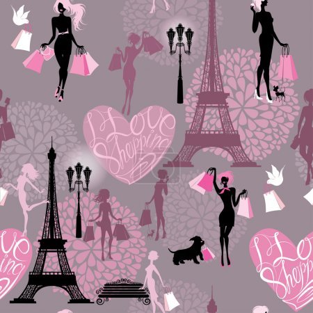 Seamless pattern - Effel Tower, hearts with calligraphic text I