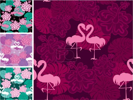 Set of seamless patterns with palm trees leaves and flamingos. R