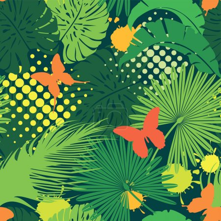 Seamless pattern with palm trees leaves and butterflies. Ready t