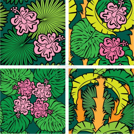 Set of seamless patterns with palm trees leaves and Frangipani f