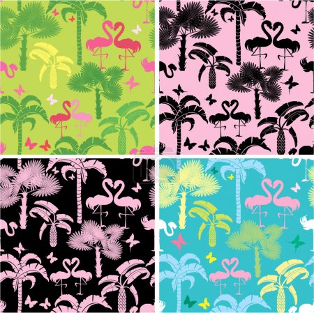 Set of seamless patterns with palm trees, butterflies and flamin