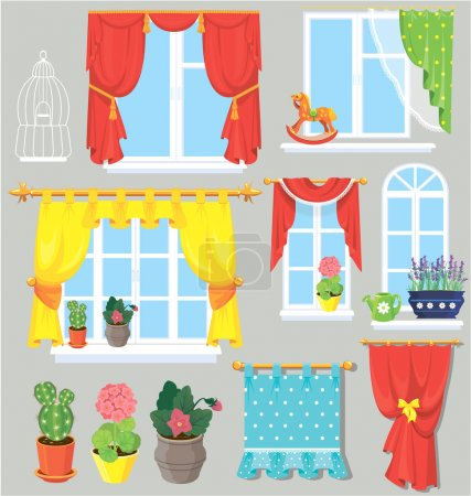 Illustration for Set of windows, curtains and flowers in pots. Elements for interior design. - Royalty Free Image