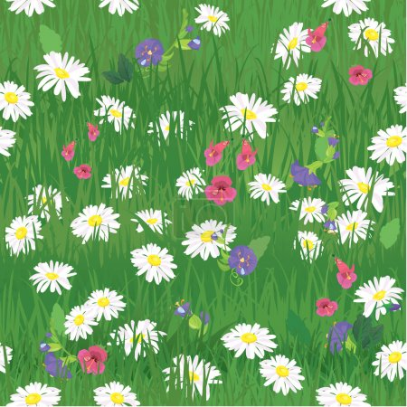 Seamless pattern - texture of grass and wild flowers - backgroun