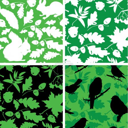 Set of Seamless patterns with birds, leaves and squirrel silhoue
