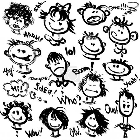 Illustration for Set of Cartoon faces with different emotions. Handdrawn images and handwritten text - Royalty Free Image