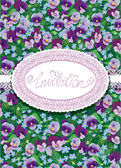 Vertical card with floral pattern and oval lace frame Handwritten text INVITATION Beautiful flowers - pansy and forget me not - floral background Design for Birthday Wedding etc