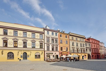 Colorful buildings of the old town of Lublin...