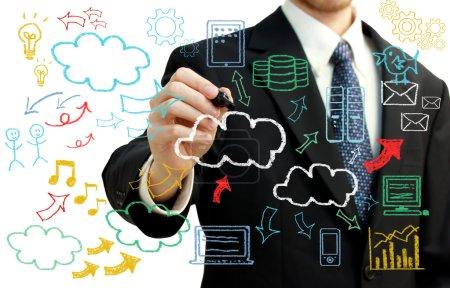 Photo pour Homme d'affaires avec manuscrite nuage informatique sur le thème textes et photos - image libre de droit