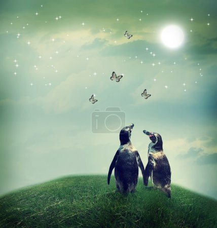 Photo for Two penguin friendship or love theme image at a fantasy landscape - Royalty Free Image